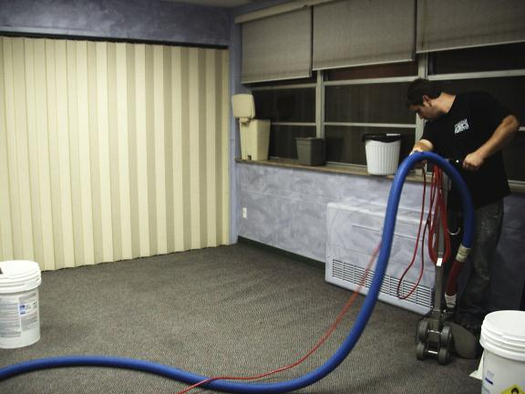 Industrial dryer drying classroom carpets