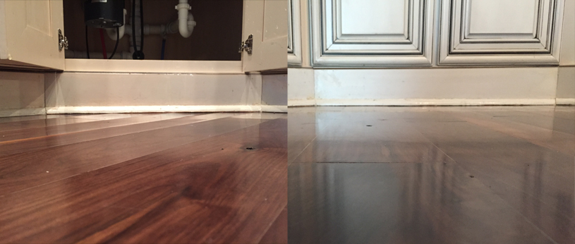 Before & after of hardwood floors being dried
