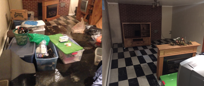 Before and after of a flooded basement